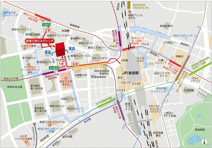新宿西口地図(新宿三井ビルディングHPより)