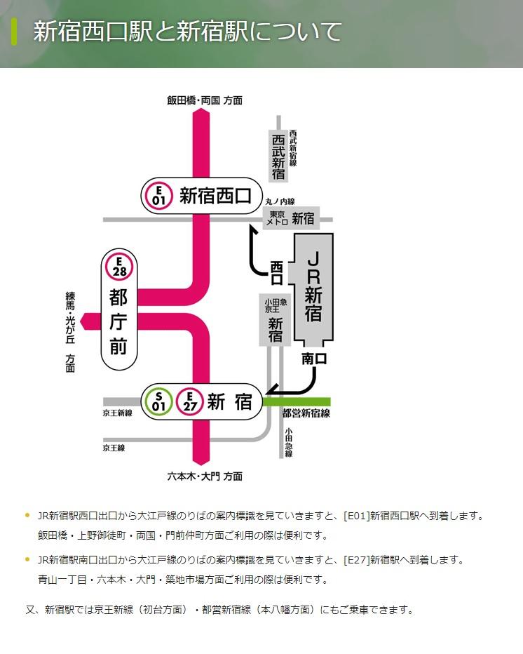 新宿西口駅と新宿駅について(東京都交通局)