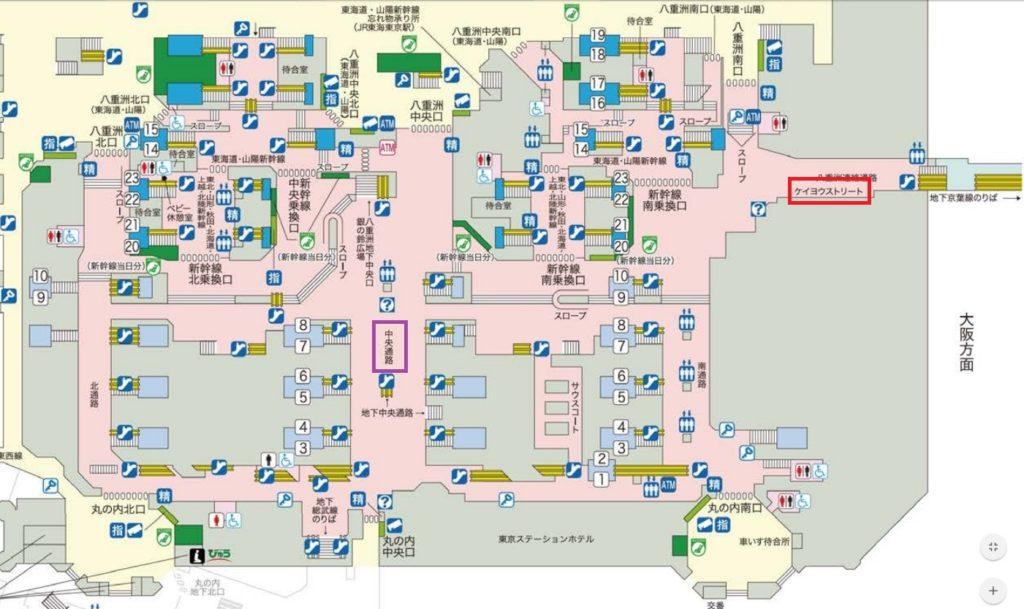 東京駅1階平面図中央通路