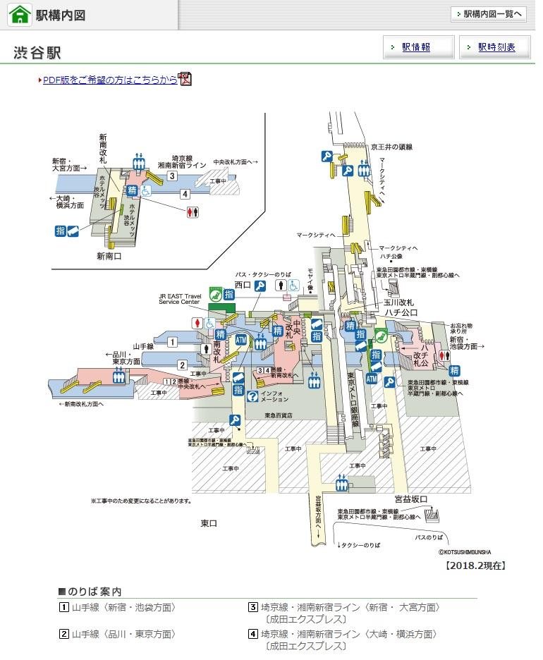 JR渋谷駅構内図
