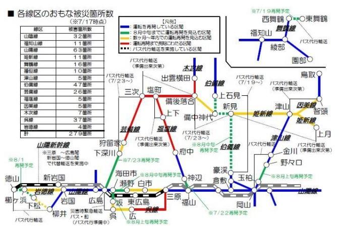 JR西日本被災