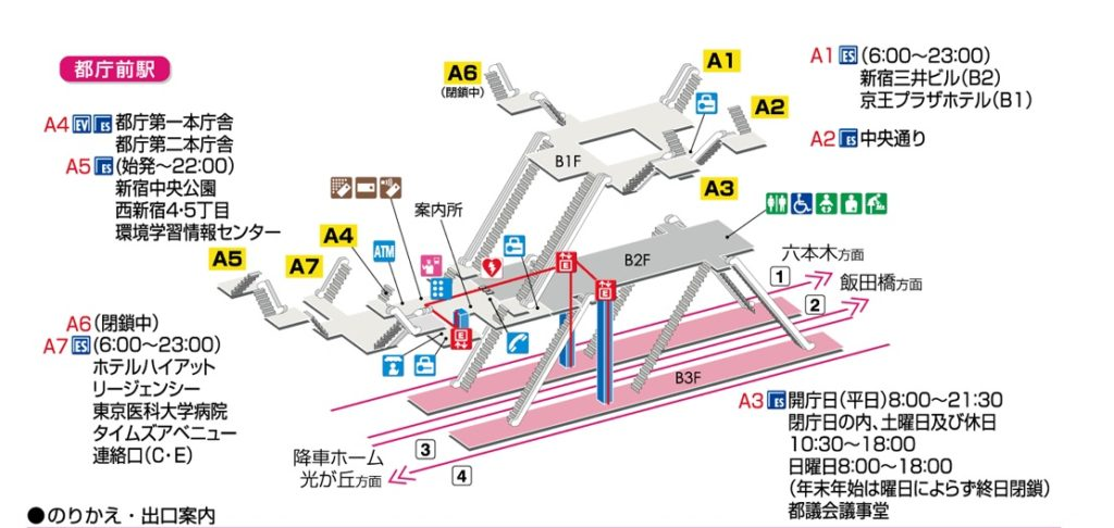 都庁前駅構内図