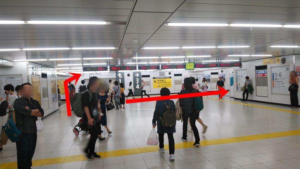 中央通路経由山手線から埼京線