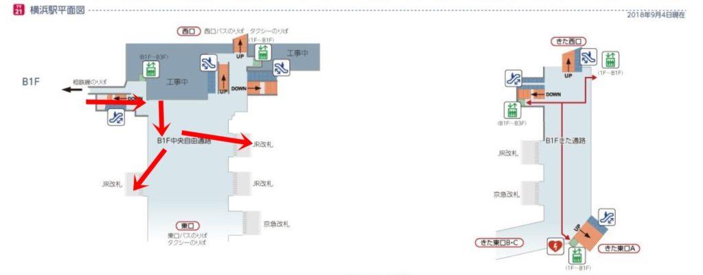 東急横浜駅平面図南改札中央通路経由