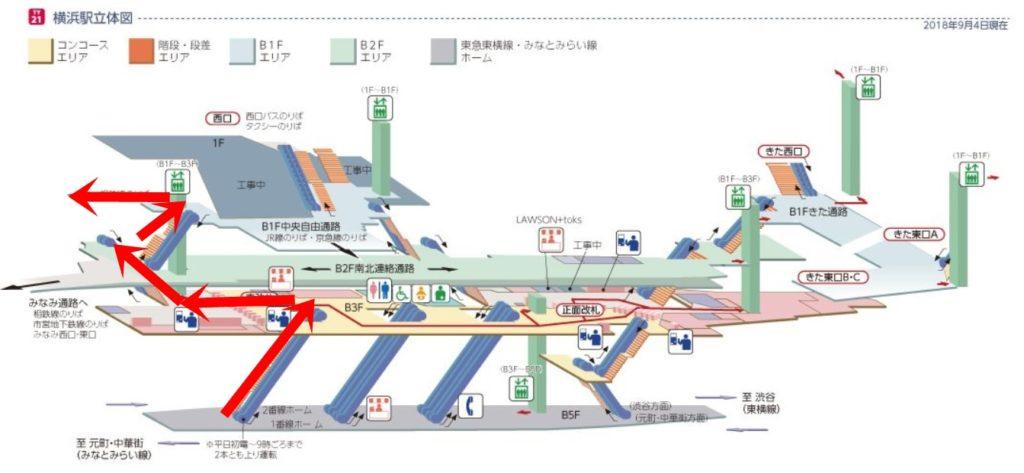 東急横浜駅立体図相鉄へ
