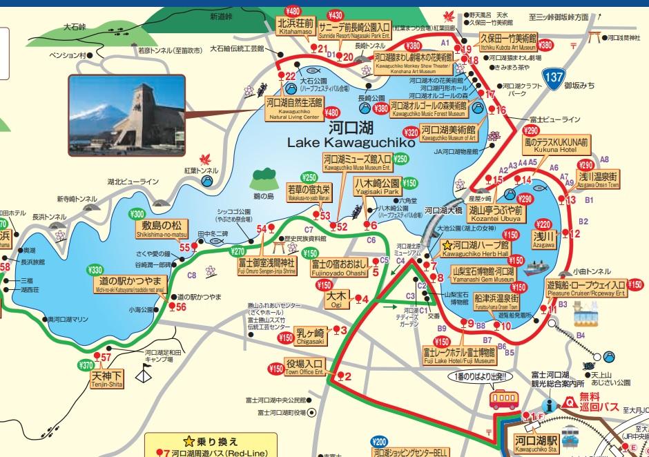 河口湖周遊バス路線図