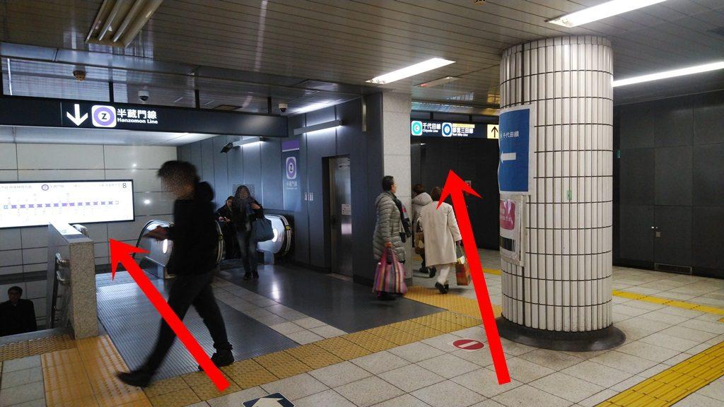 丸ノ内線荻窪方面ホームから半蔵門線4