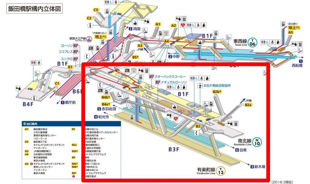 東京メトロ飯田橋駅構内図(南北線・有楽町線強調)