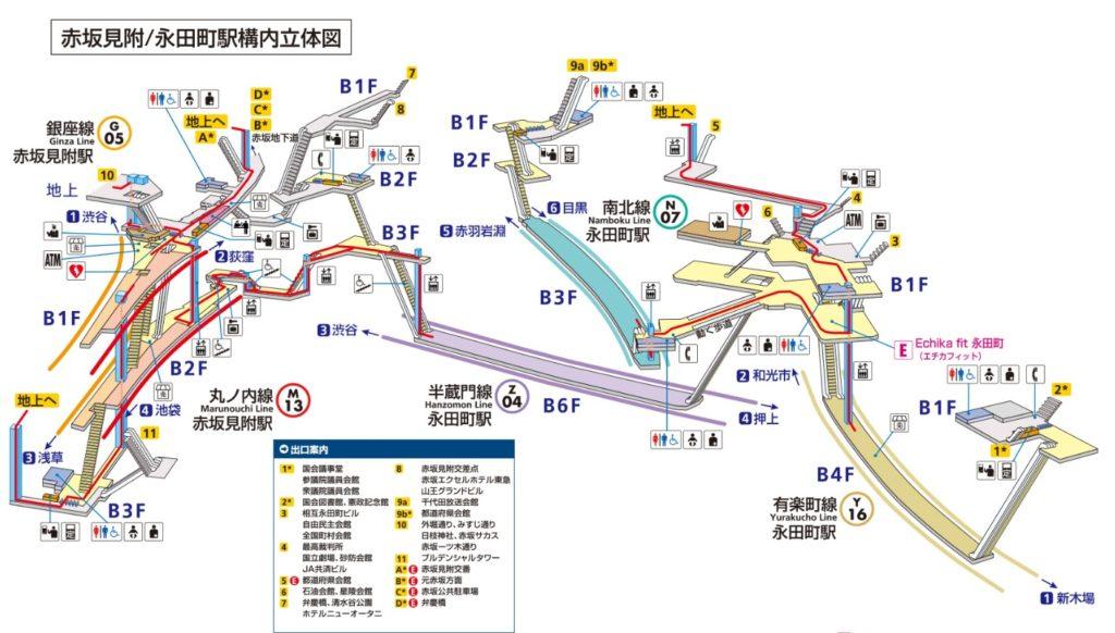 永田町・赤坂見附構内図