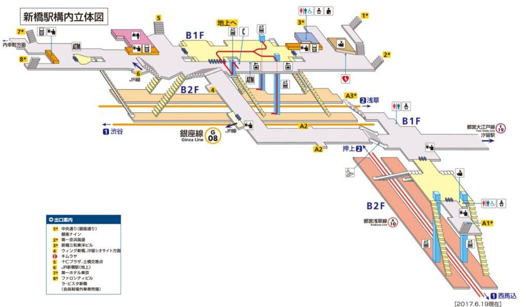 東京メトロ新橋駅構内図