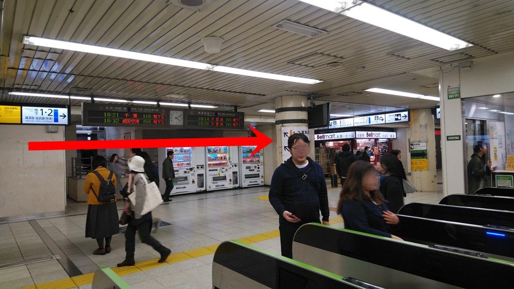 汐留改札から横須賀線