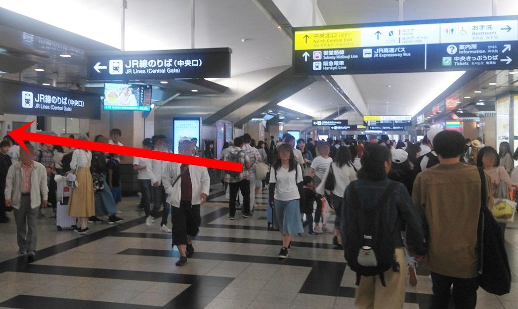 阪神百貨店口からJR5