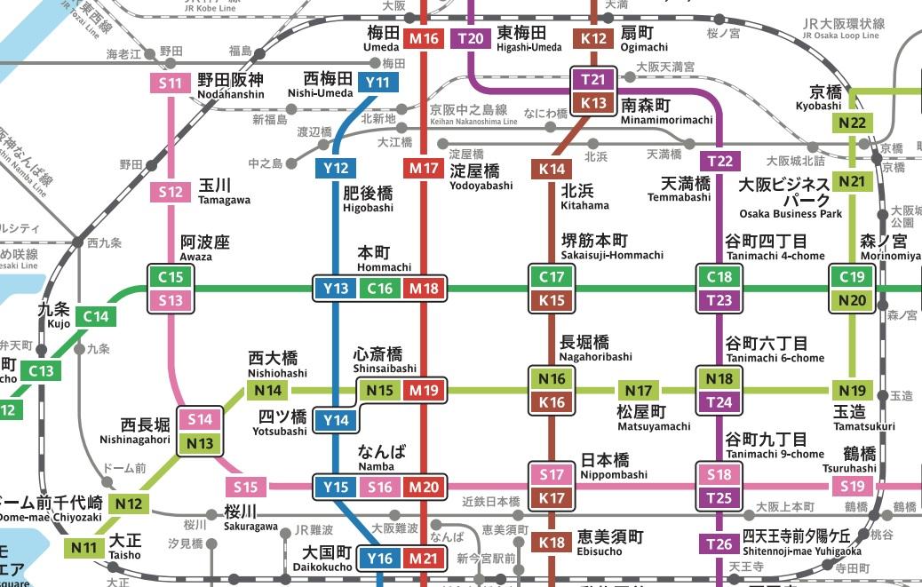 大阪メトロ中心部路線図