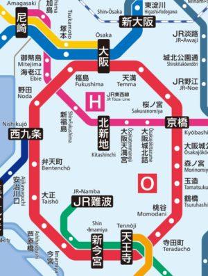 JR大阪駅路線図