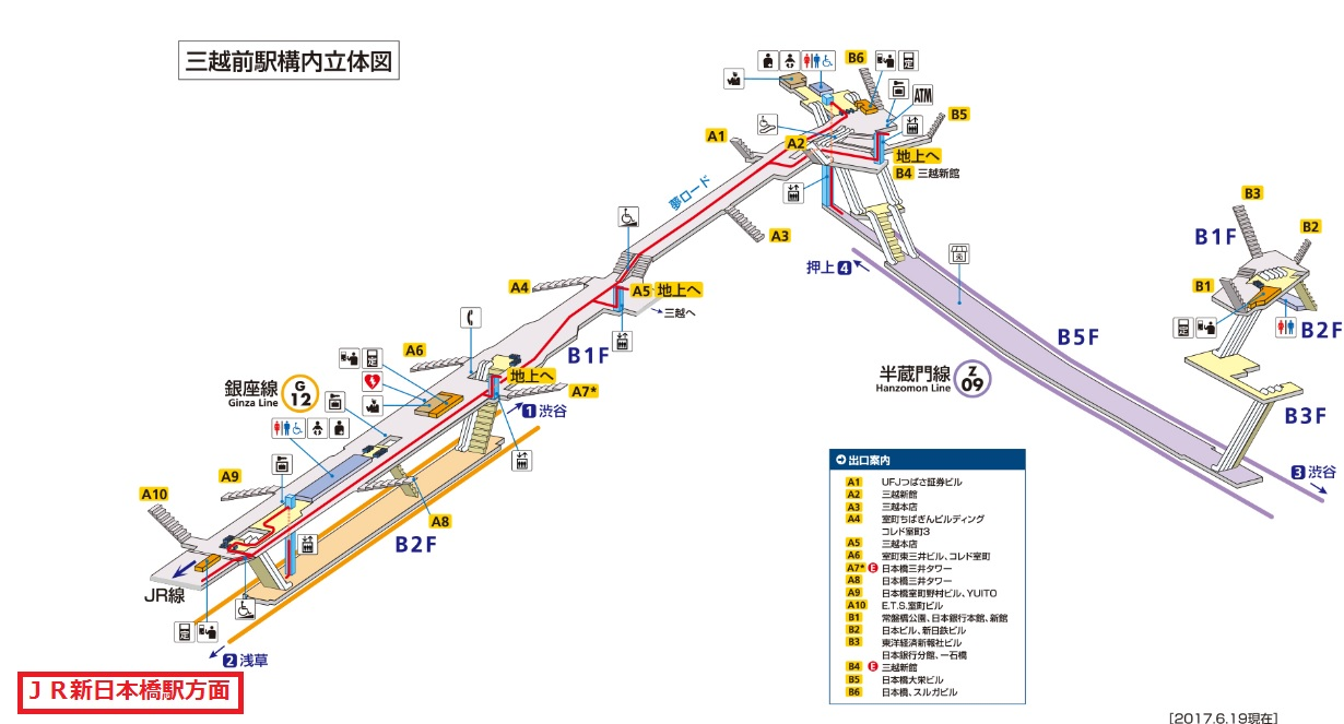 三越前駅構内図