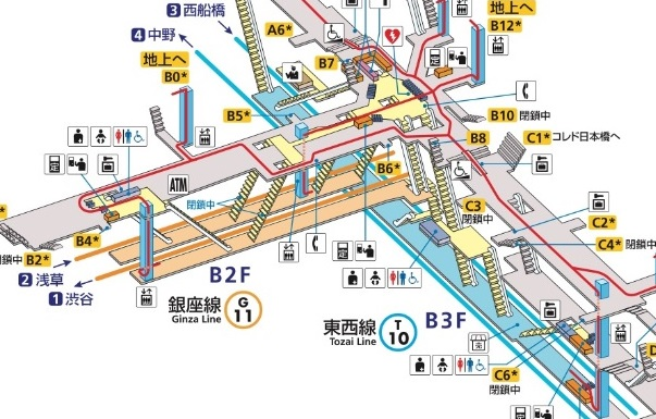 (東西線・銀座線拡大)日本橋駅構内図