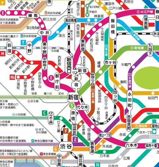 代々木駅付近路線図